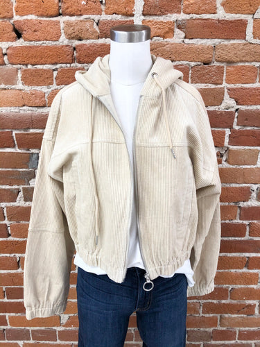 Blaise Cropped Corduroy Jacket in Almond