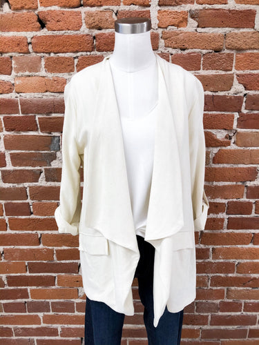 Hutch Linen Open Blazer in Ivory