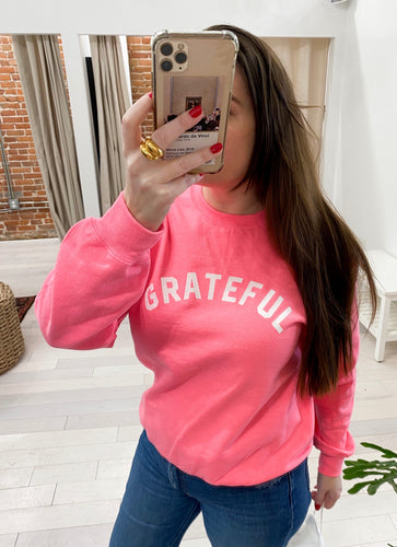 Grateful Sweatshirt in Hot Pink