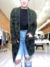 Load image into Gallery viewer, Mojo Fuzzy Cardigan in Olive Camo