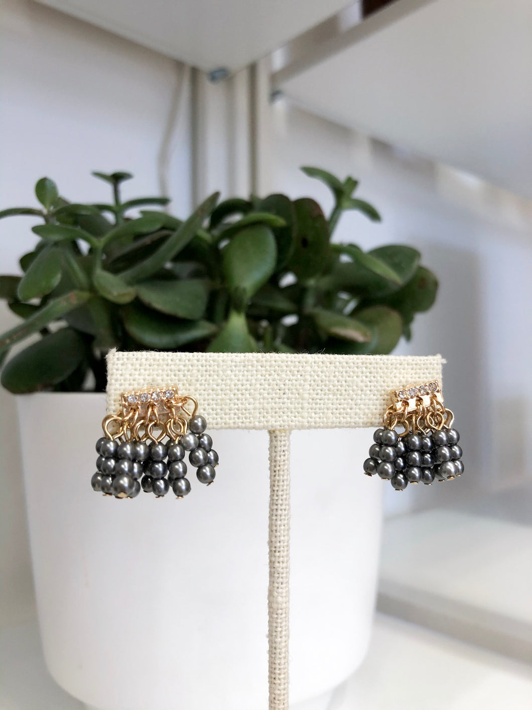 Joanne Beaded Studs in Charcoal