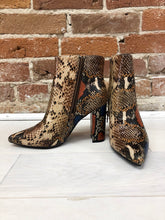 Load image into Gallery viewer, Fleur Block Heel Bootie in Color Snake