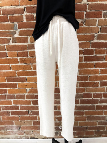 Towel Lounge Pants in Cream Terry