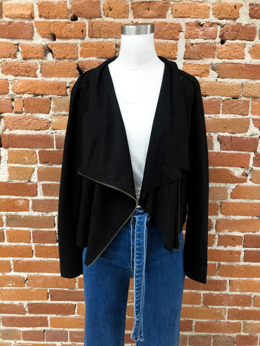 Maxwell Jacket in Black Faux Suede