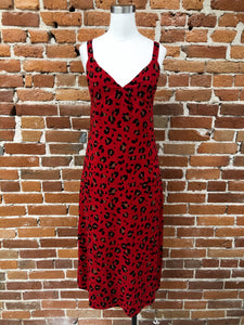 Animal Fever Midi Dress in Red