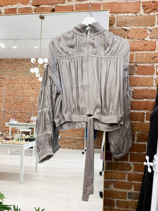 Larissa Shirred Jacket in Pewter