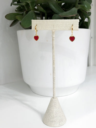 Small Heart Hoop Earrings- Red