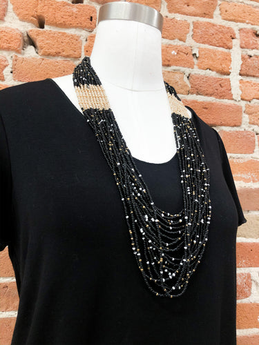 Fiona Black and Gold Necklace
