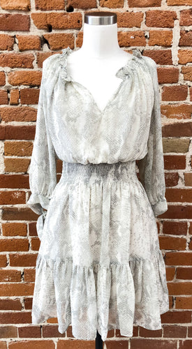 Lennon Smocked Waist Dress in Snakeskin