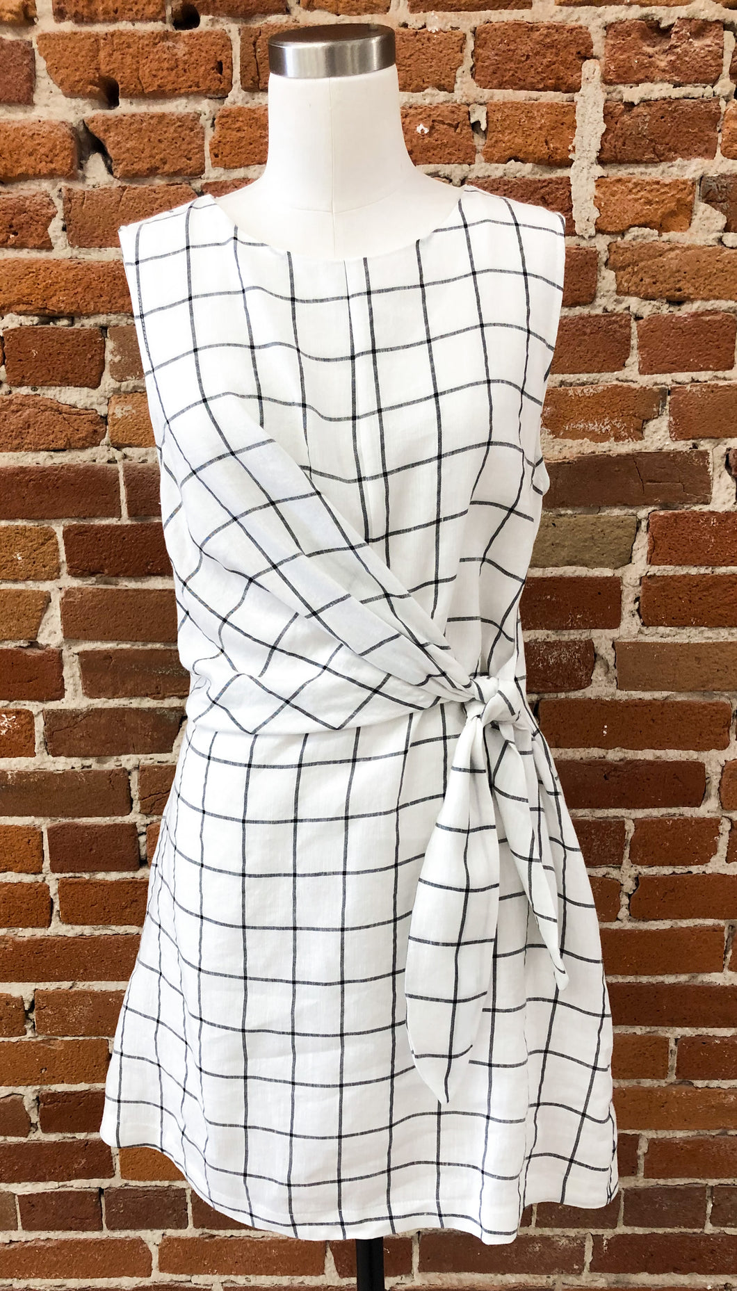 Longoria Checkered Cream and Black Side Tie Dress