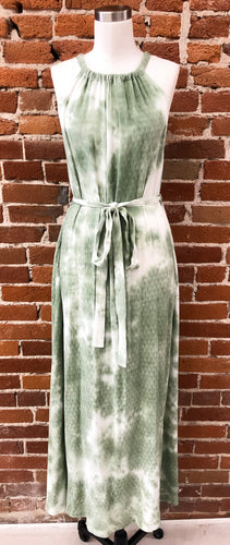 Alanis Tie Dye Maxi Dress in Green