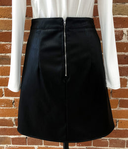 Mara Black Leather Skirt
