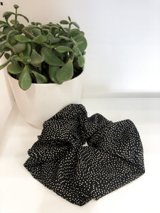 Large Black and White Polka Dot Scrunchie