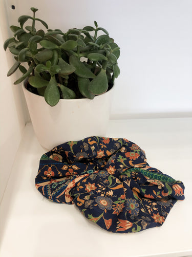 Large Blue and Burnt Orange Floral Scrunchies