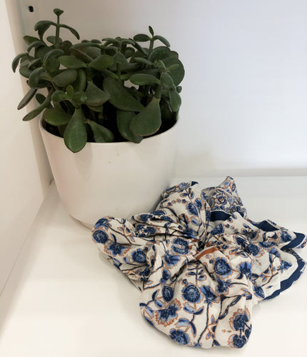 Large Navy Floral Scrunchies