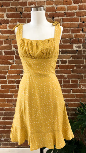 Celine Polka Dot Dress in Mustard