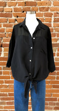 Load image into Gallery viewer, Karen Front Tie Button Up Shirt in Black
