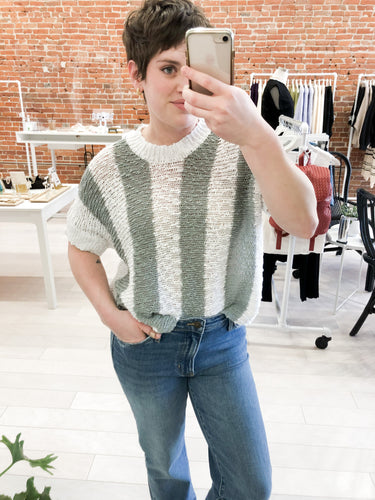 Melbourne Stripe Sweater in Dusty Mint