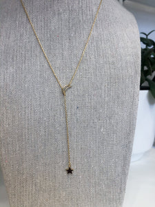 Moon and Star Necklace in Gold
