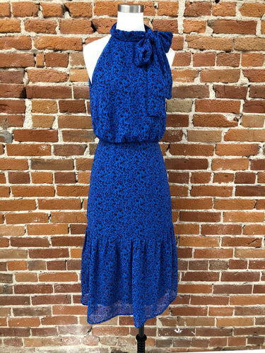 Adelaid Lace Halter Dress in Cobalt