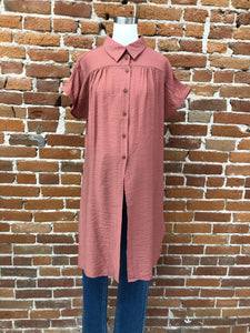 Kerry Long Blouse with Slits in Marsala - FINAL SALE