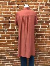 Load image into Gallery viewer, Kerry Long Blouse with Slits in Marsala - FINAL SALE