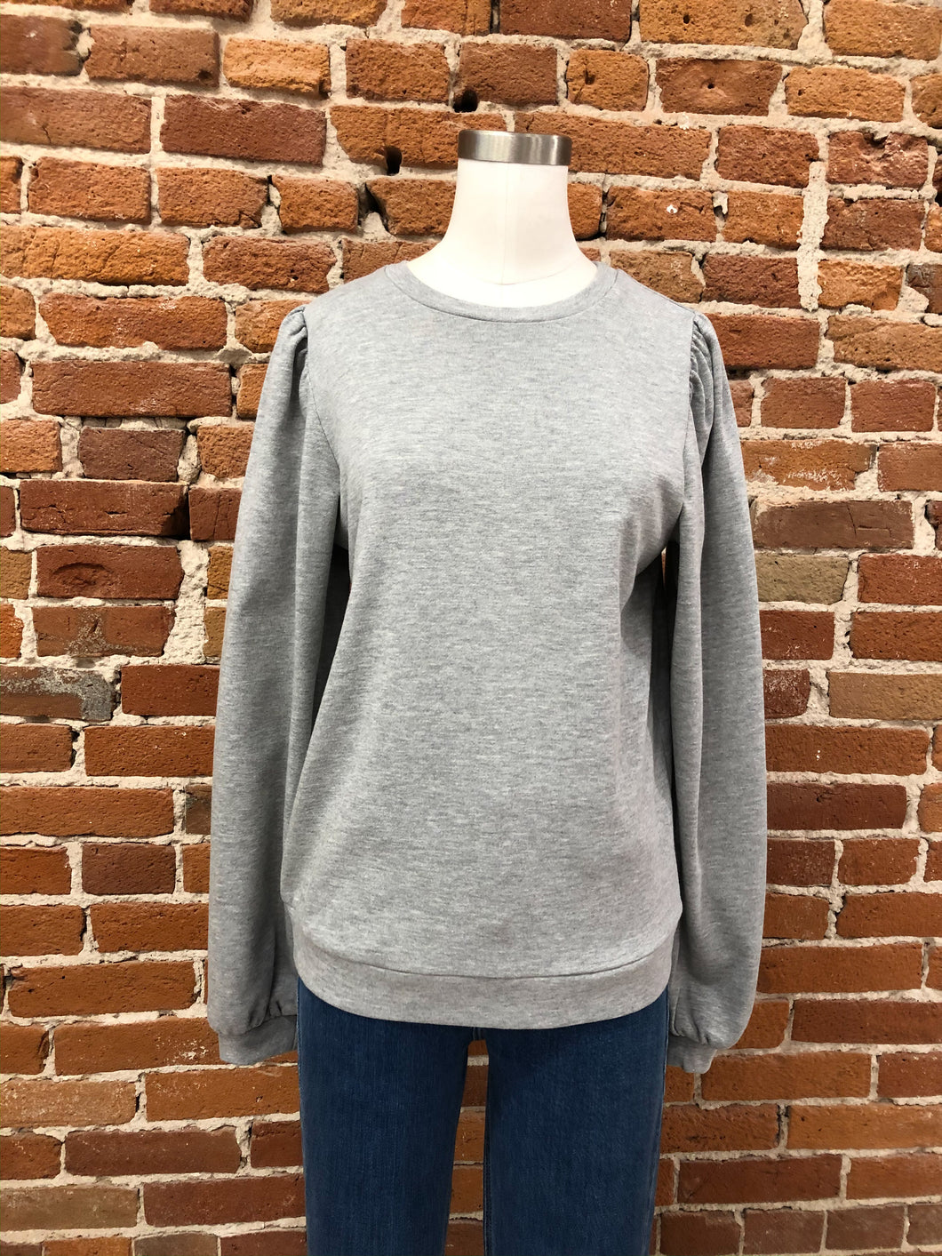 Linda Puff Sleeve Top in Heather Grey