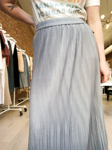 Leni Elasticized Waist Pleated Skirt in Gray