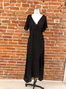 Madelyn Wrap Maxi Dress in Black