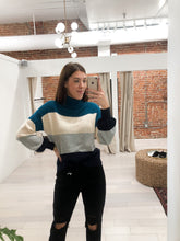 Load image into Gallery viewer, Sydney Colorblock Turtle Neck Sweater in Teal - FINAL SALE