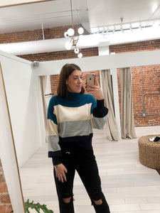 Sydney Colorblock Turtle Neck Sweater in Teal - FINAL SALE