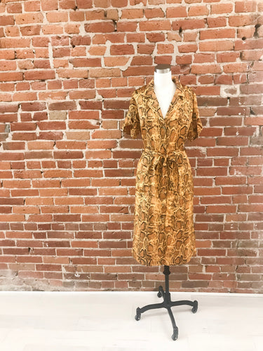 Delaware Button Front Dress in Mustard Python