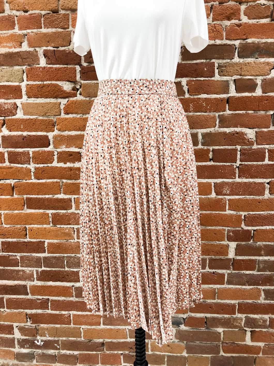 Ward Pleated Slit Midi Skirt in Taupe