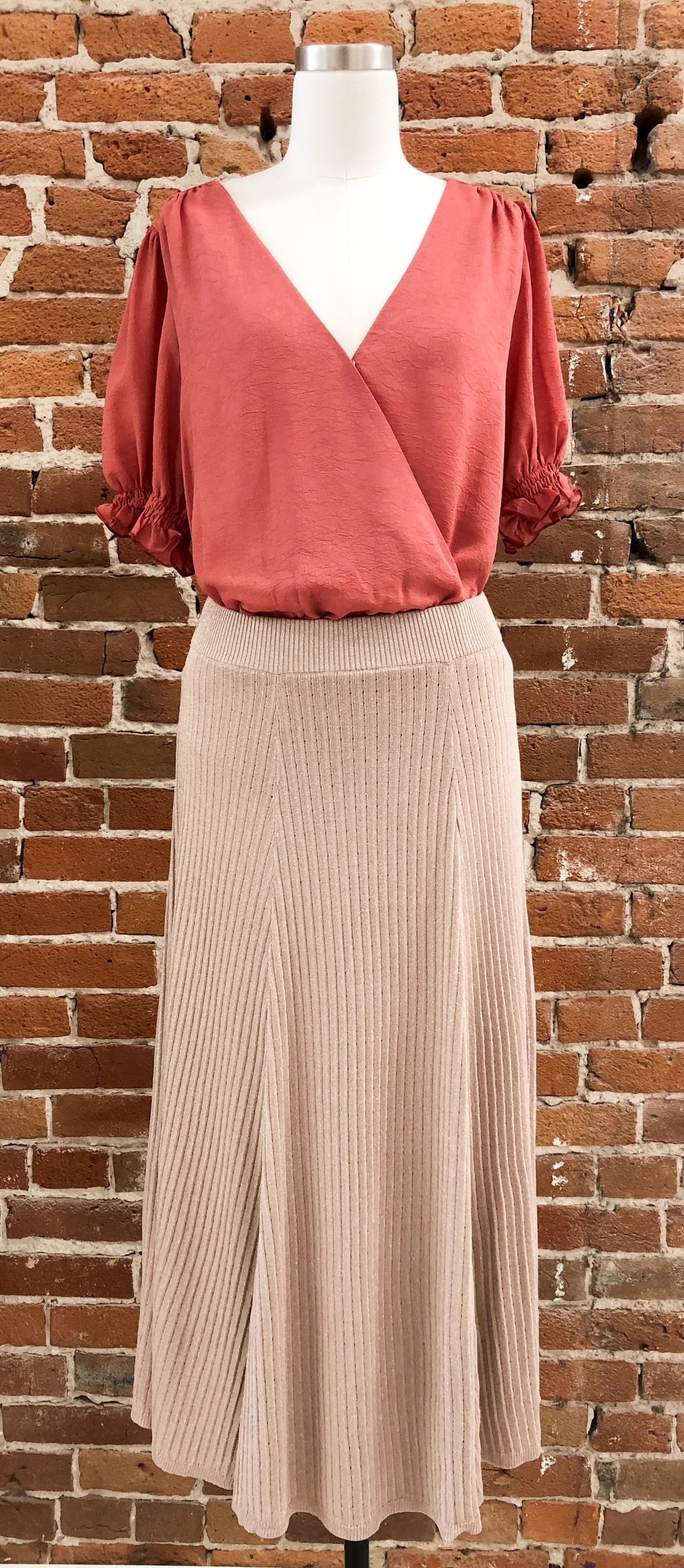 Milo Midi Length Sweater Skirt in Metallic Dusty Rose - FINAL SALE