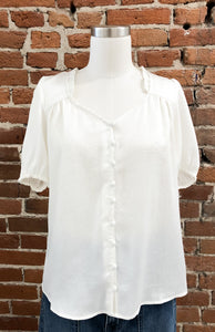 Phillip Sleeveless Button Down Top in Ivory