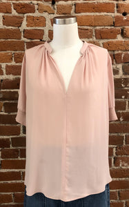 Laurie V-Neck Blouse in Blush
