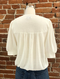 Simone Round Neckline Sweater Top in White