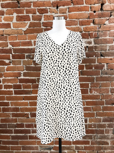 Megan Animal Print V-Neck Dress in Ivory