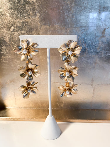 Morgana Floral Drop Earrings in Gold