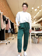 Load image into Gallery viewer, Scott Satin Jogger Pants in Hunter Green - FINAL SALE