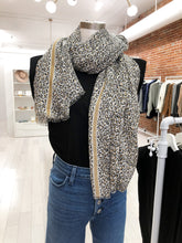 Load image into Gallery viewer, Marilyn Leopard Scarf in Gold Stripe