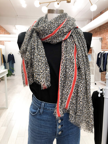 Marilyn Leopard Scarf in Red Stripe