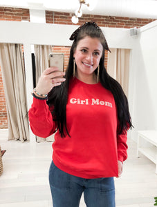 Girl Mom Sweatshirt in Red