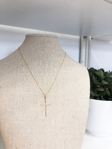 Thin Cross Necklace in Gold