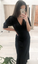 Load image into Gallery viewer, Fallon Puff Sleeves Midi Dress in Black - FINAL SALE