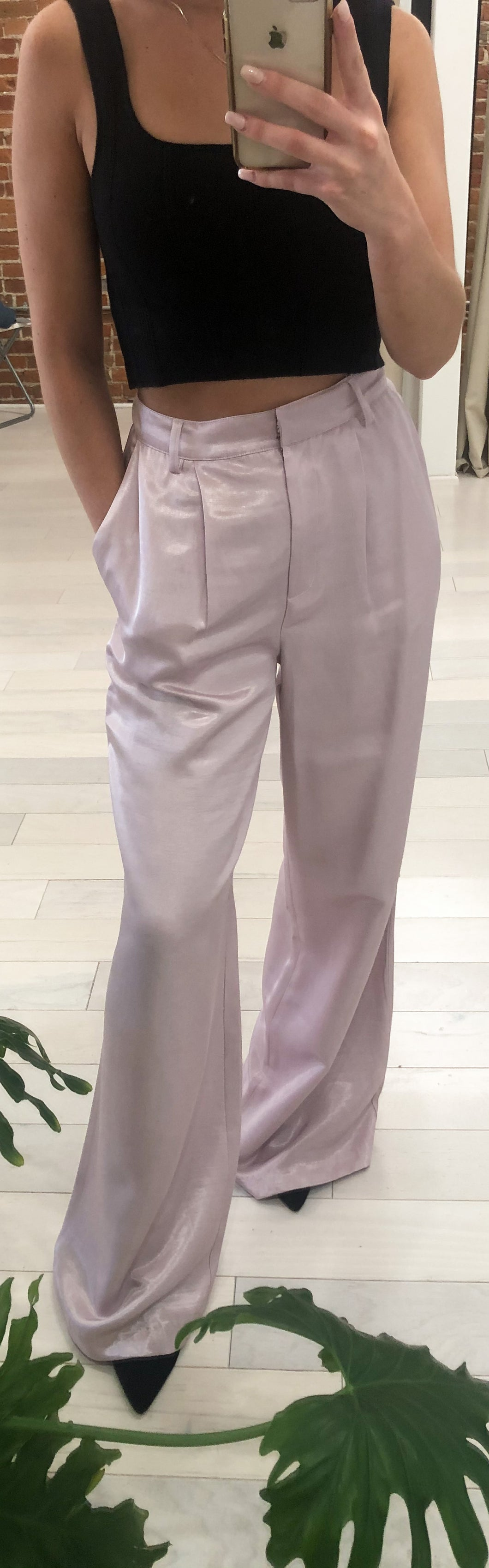 Carrington Soft Satin Wide Legged Pant in Light Pink - FINAL SALE
