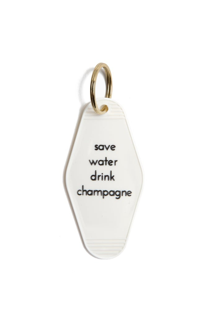 Save Water Drink Champagne Keychain