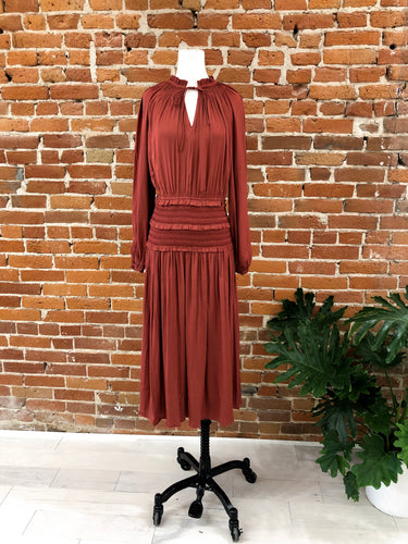 Norman Smocked Dress in Rust