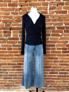 Trina Fuzzy Wrap Sweater in Navy - FINAL SALE