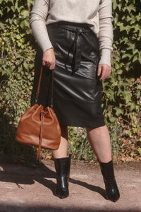 MaryBeth Faux Leather Midi Skirt with Tie Belt in Black